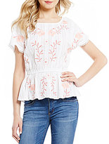Copper Key Floral-Embroidered Short-Sleeve Pom-Pom Trim Top