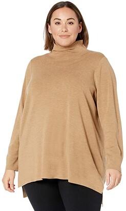 Eileen Fisher Plus Size Scrunch Neck High-Low Tunic (Honey) Women's Clothing