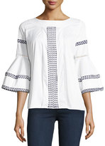 Oscar de la Renta Flounce-Sleeve Embroidered Poplin Blouse, White/Blue