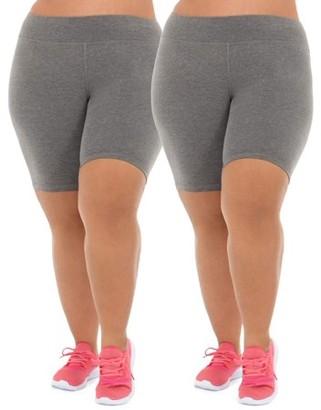 Athletic Works Women's Plus Size Active 2-Pack Bike Shorts Bundle