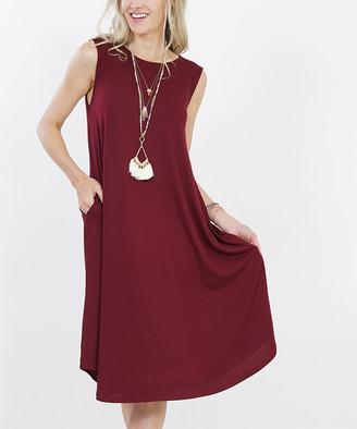 Lydiane Women's Casual Dresses DK - Dark Burgundy Crewneck Sleeveless Curved-Hem Pocket Midi Dress - Women & Plus