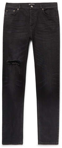 Balenciaga Skinny-Fit Distressed Stretch-Denim Jeans - Black