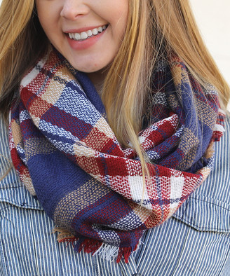 Funky Monkey Women's Cold Weather Scarves Navy - Navy Pier Plaid Infinity Scarf - Women