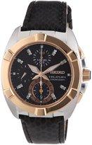 Seiko Women's SNDZ20 Velatura Leather Diamond Accent Chronograph Watch