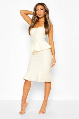 boohoo Petite Peplum Fishtail Bandage Midi Dress