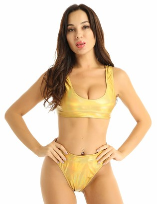 Yeahdor 2 Pieces Women's Shiny Metallic Holographic Round Neck Bikini Sets Rave Festival Swimsuit Gold S