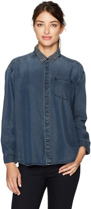 Calvin Klein Jeans Women's Long Sleeve Loose Denim Button Down Shirt with Stud Collar Shirt