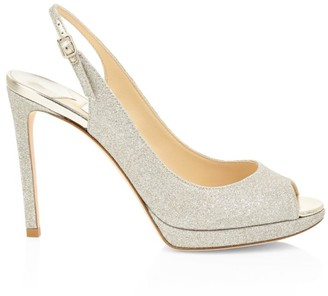 Jimmy Choo Nova Peep-Toe Glitter Leather Slingback Platform Pumps