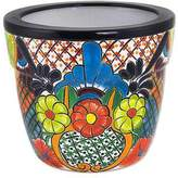 Talavera Style Handcrafted Ceramic Flower Pot from Mexico, 'Mexican Zinnias'