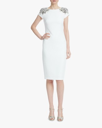 Badgley Mischka Beaded-Shoulder Sheath Dress