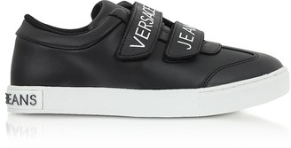 Versace Black Leather Signature Women's Sneakers w/Velcro Straps