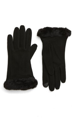 UGG Genuine Shearling Trim Suede Tech Gloves