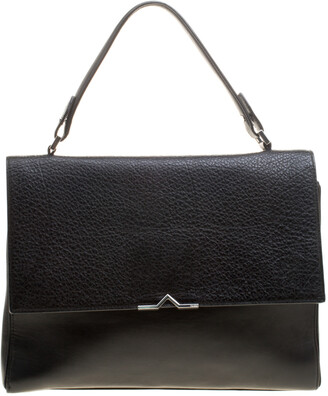 HUGO BOSS Black Leather Top Handle Briefcase