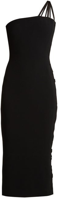 Azzaro Alpha One Shoulder Lace Up Cady Midi Dress - Womens - Black