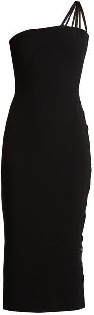 Azzaro Alpha One-shoulder Lace-up Cady Midi Dress - Black