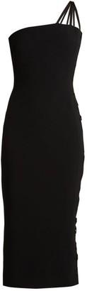 Azzaro Alpha One Shoulder Lace Up Cady Midi Dress - Womens - Black
