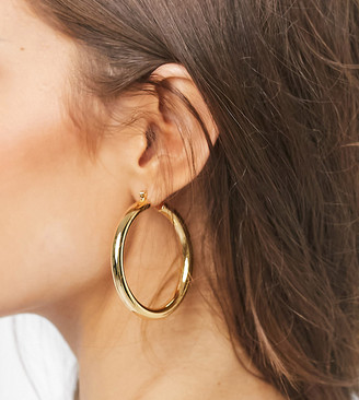 Luv Aj Amalfi tube hoops in 18k antique gold plate