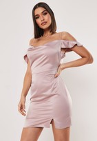 Missguided Blush Cold Shoulder Satin Cowl Mini Dress