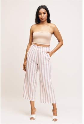 Dynamite Karlie Linen Culotte Pant - FINAL SALE Cream & Brown Stripes