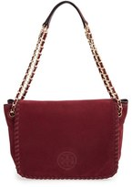 Tory Burch 'Small Marion' Suede Shoulder Bag - Burgundy