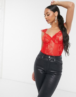 Love & Other Things cap sleeve lace bodysuit in red