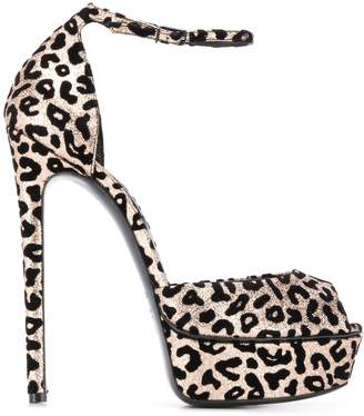 Casadei Leopard Print Heeled Sandals
