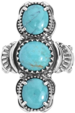 American West Turquoise Three Stone Elongated Ring in Sterling Silver