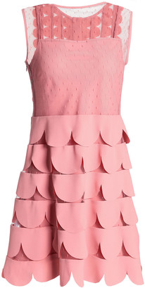 RED Valentino Scalloped Crepe And Point D'esprit Mini Dress