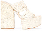 Paloma Barceló platform mules - women - Leather/Raffia - 40