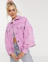 Asos Design DESIGN oversized acid washed jacket in pink