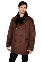 Excelled Men's Excelled Faux-Shearling Pea Coat