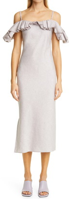 Jacquemus Pampelonne Ruched Cotton & Linen Sheath Dress
