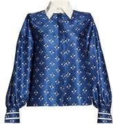Fendi Contrast-collar geometric-print silk-faille blouse