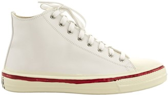 Marni Graffiti White High-top Sneaker In Leather With Partial Rubber Coating