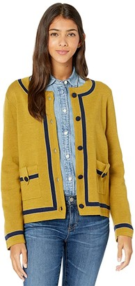 J.Crew Tipped Jacket (Bronzed/Olive/Navy) Women's Sweater