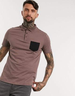 ASOS DESIGN polo shirt with contrast pocket in brown
