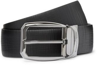 Ermenegildo Zegna 3.5cm Black Reversible Cross-Grain Leather Belt