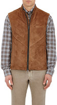 Luciano Barbera Men's Quilted Suede Vest-TAN