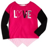 Design History Girls' Colorblocked Love Tee - Sizes 2-6X