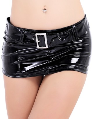 CHICTRY Women's PVC Leather Wet Look Hip Tight Mini Skirt with Belt Adjustable Black Small