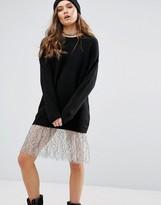 New Look Lace Trim Longline Jumper Dress