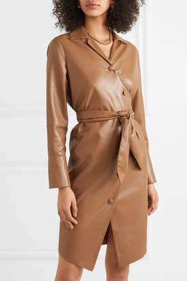 Nanushka Ailsa Vegan Leather Wrap Dress - Brown