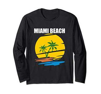 Miami Beach Cool Fun Florida Summer Vacation Illustrated Long Sleeve T-Shirt
