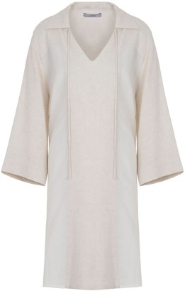 A Line Clothing Tunic With Mix Linen Fabrics