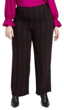 Bar III Trendy Plus Size Striped Wide-Leg Pants, Created For Macy's