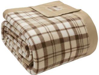 "Madison Home USA Printed Knit Micro Fleece Blanket, 2"" Matte Satin Binding, Tan, Full/Q"