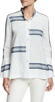 Derek Lam 10 Crosby Bell-Sleeve Poplin Striped-Trim Blouse, Soft White