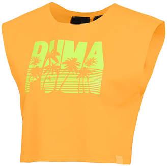 FENTY PUMA by Rihanna Sleeveless Palm-Tree Logo Crop Top, Orange