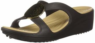 Crocs Women's Sanrah Hammered Circle Wedge Sandal espresso/gold 11 M US