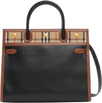 Burberry Small Title Calfskin Leather & Canvas Bag